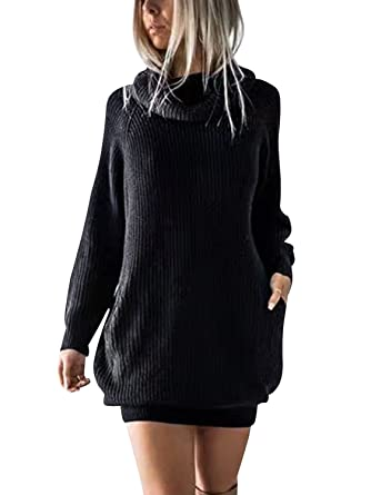 BerryGo Women s Loose Turtleneck Knit Long Pullover Sweater Dress Black 08c2f96f1