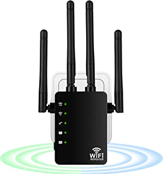 Repetidor de WiFi 1200Mbps, Extensor de WiFi Doble Banda 2.4G/300Mbps+ 5G/867Mbps Amplificador de WiFi con 2 Puerto Ethernet, 4 Antenas Externas, ...