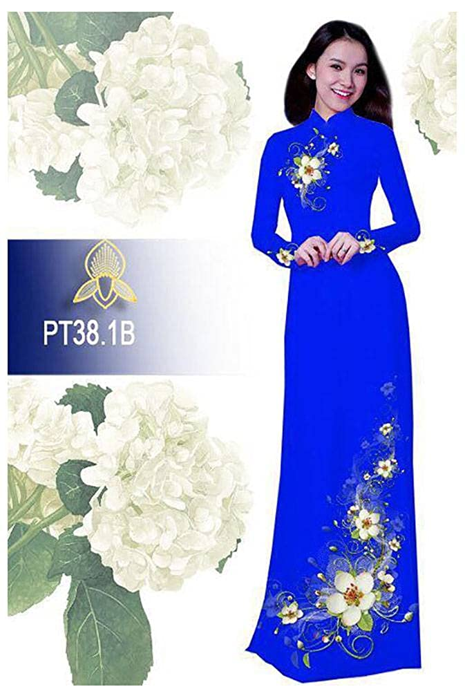 Ao Dai All Size ADVN00510 Silk 3D Traditional Vietnamese Long Dress Collections with Pants