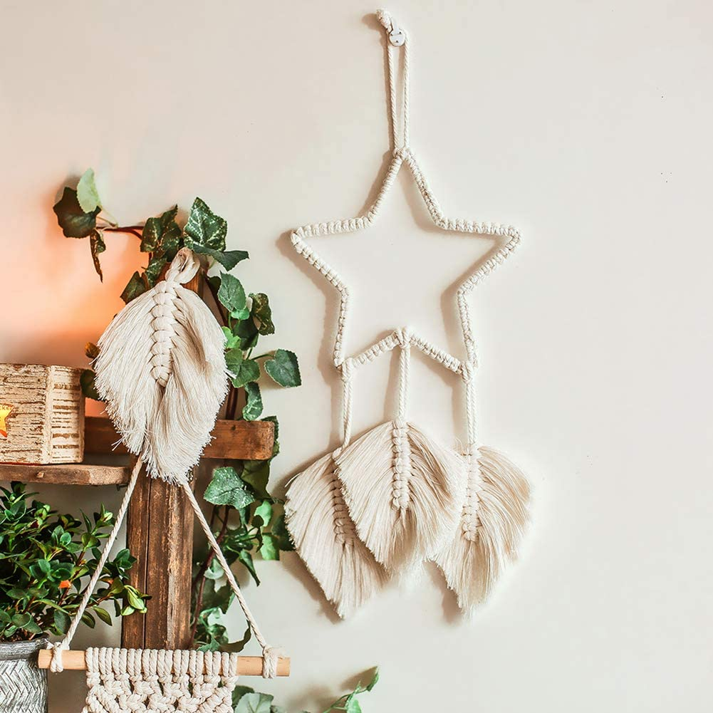 Home Woven Dream Catcher Wall Hanging Boho Tapestry Ornament Star Decors Craft