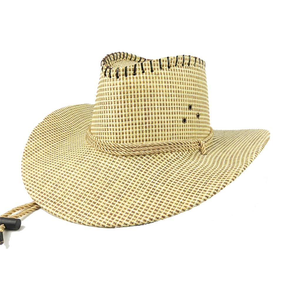 Lfives-cap Cappello da Uomo in Paglia di Fedora Cappello da Cowboy Unisex Stile Vintage per Cappello da Spiaggia per Donna Cappello Estivo da Spiaggia Colore : Beige, Dimensione : Taglia Unica