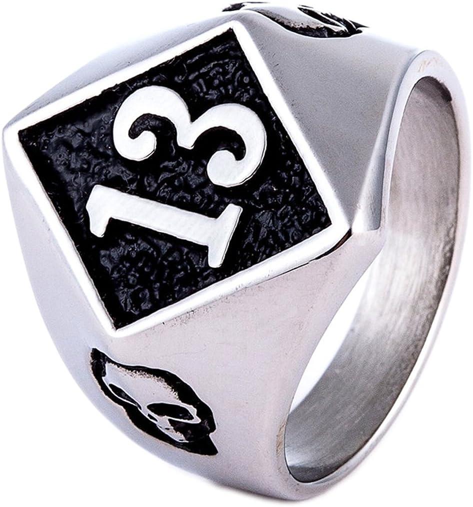 ZMY Men's Fashion Jewelry Rings, 316L Stainless Steel Hip Hop Skull Biker Number 13 Ring for Men