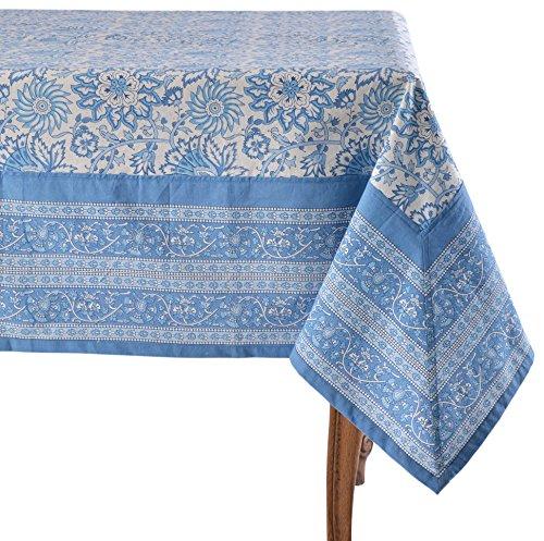(Mahogany Noori Blue Tablecloth, 60 x 90-inch, 100% Cotton, 60