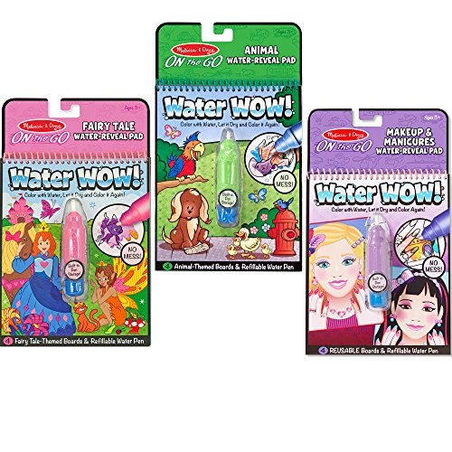 Melissa & Doug On the Go Water Wow! Reusable Water-Reveal Activity Pads, 3-pk, Makeup, Fairy Tales, Animals -