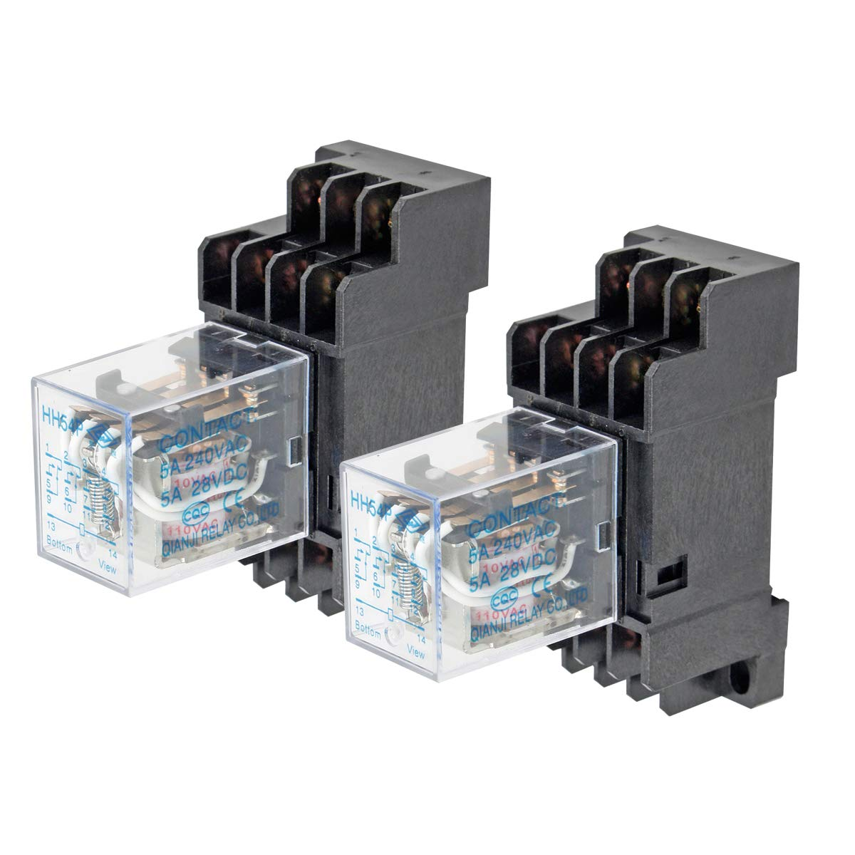 Electrical Buddy DPDT HH54P Coil 14Pin General Purpose Relay with PYF14A Socket DC 110V 2PCS