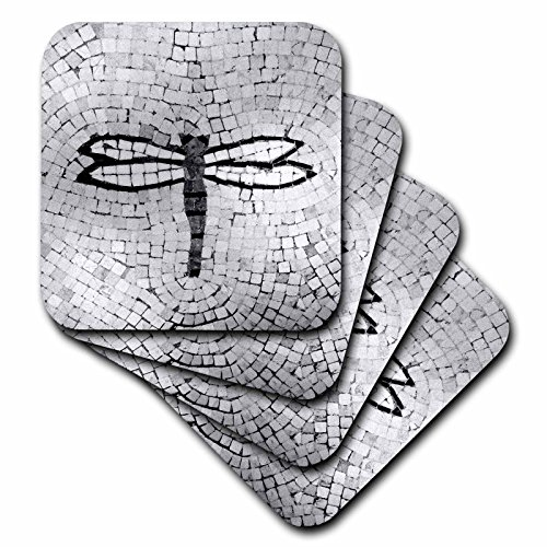 - 3dRose CST_29665_2 Dragonfly Black N White Soft Coasters, Set of 8