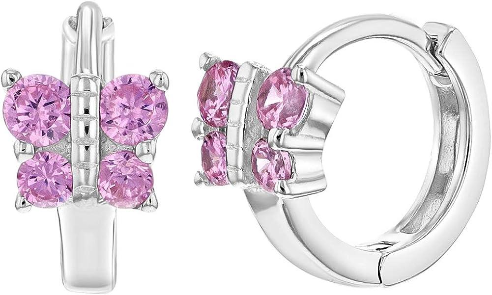 925 Sterling Silver Pink CZ Butterfly Huggie Hoop Earrings for Girls or Teens