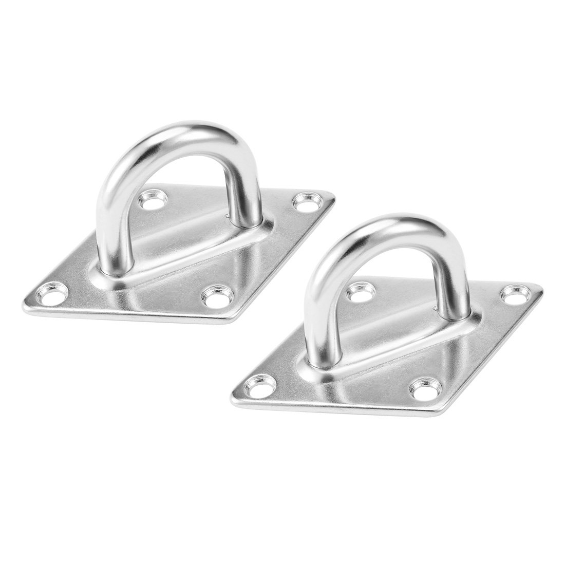 uxcell 304 Stainless Steel Pad Eye, 4.7-inch x 3-inch, 12mm Ring Sail Shade Plate Marine Boat Rigging, 2 Pack