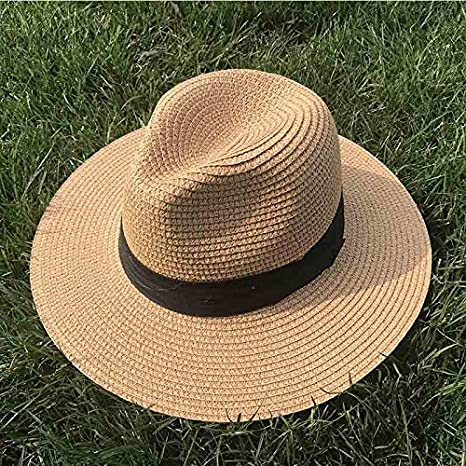 Eaglers Women Ribbon Wide Brim Panama Straw Hat Fedora Beach Sun Hat Upf50 Sun Floppy Summer Boater Hat Lady Kentucky Derby Vocation Hat