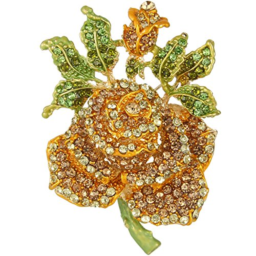 EVER FAITH Mothers' Gifts Austrian Crystal Enamel Rose Flower Leaf Brooch Yellow w/ Green Gold-Tone (Rose Yellow Brooch)