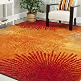 Safavieh Soho Collection SOH712R Handmade Fireworks Rust and Multicolored Premium Wool Area Rug (5' x 8')