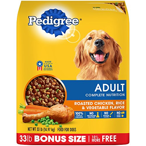 Pedigree Complete Nutrition Adult Dry Dog Food Roasted Chicken, Rice & Vegetable Flavor, 33 Lb. Bag (10 Best Dog Foods)