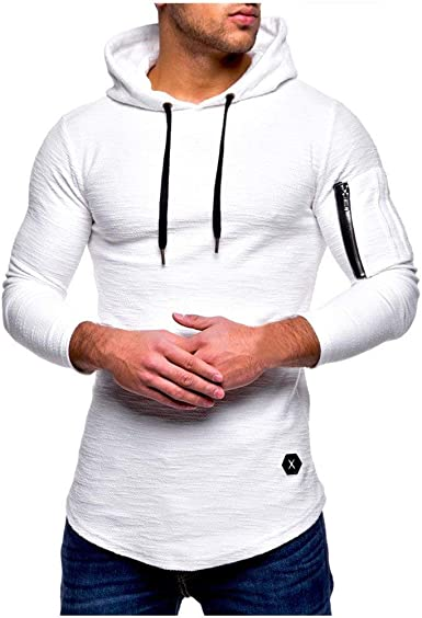 Camiseta Moderna con Manga Larga para Hombre Camiseta Deportiva Tamaños Cómodos con Capucha Color Sólido Sudadera con Capucha Hip Hop Hipster con ...
