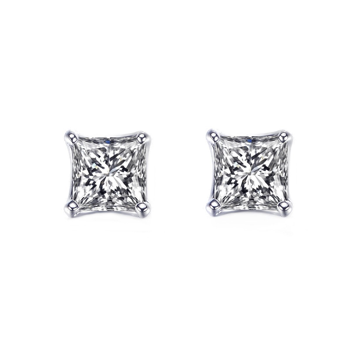 UMODE Jewelry Classic Tiny Sparking 2 Pieces 0.63 Carat Princess-cut Cubic Zirconia Stud Earrings UE0049CA