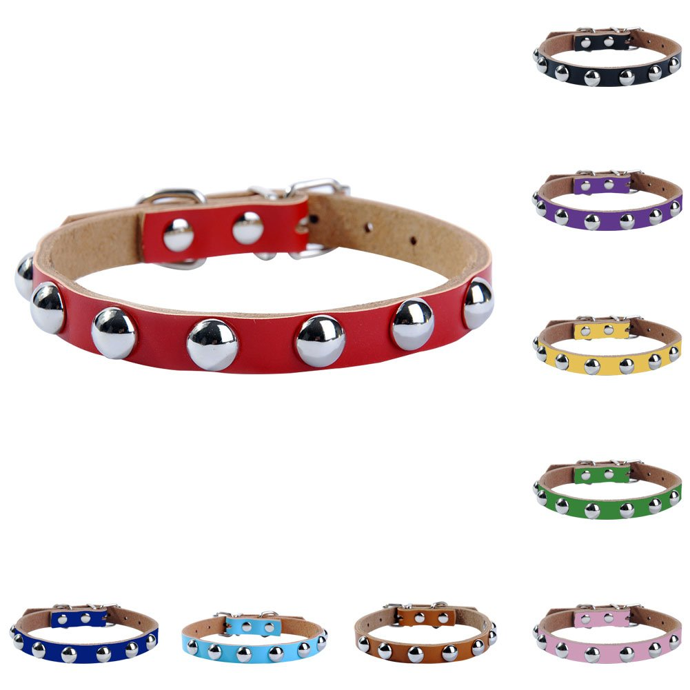 wintefei Cool Adjustable Faux Leather Metal Rivet Studded Small Dog Puppy Cat Pet Collar - Pink XS