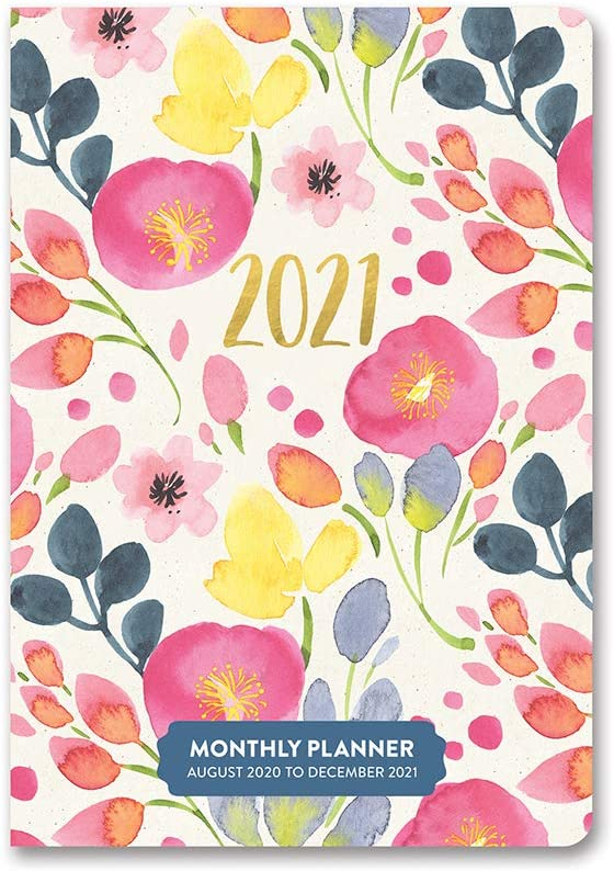 """Monthly Pocket Planner 2020-2021 in Bold Blossoms by Orange Circle Studio - 5"""" x 7"""" 17-Month Bound Cover with Month-Per-Spread Views - 60-Page Calendar & Organizer"""