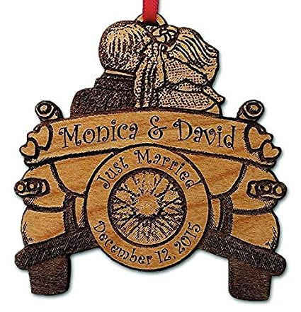 Amazon Personalized Just Married Ornament Wedding Couple Design