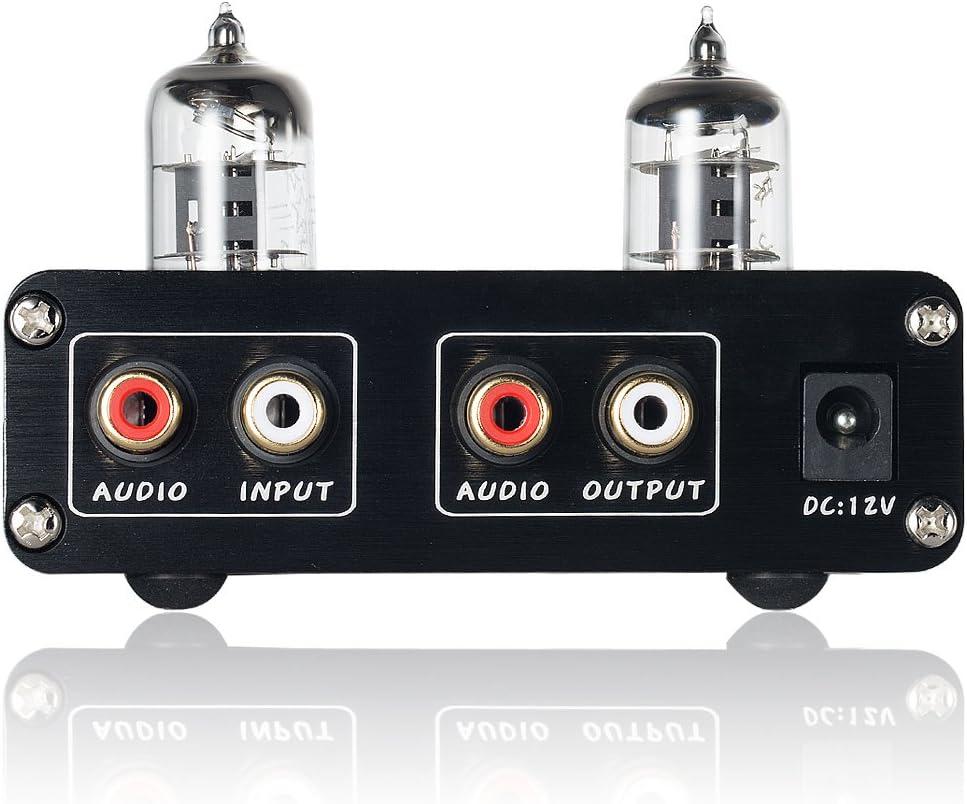 Nobsound HiFi 6J1 Preamplificador de tubo de vac/ío est/éreo Preamplificador digital de agudos y graves Control de tono negro