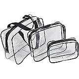3pcs Clear PVC Toiletry Makeup Wash Bag Travel Set Waterproof NEW