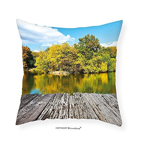 VROSELV Custom Cotton Linen Pillowcase Landscape New York City Central Park in a Autumn Day Near a Bay with River for Bedroom Living Room Dorm Sky Blue Green and Cocoa - Bay Stores Park Square