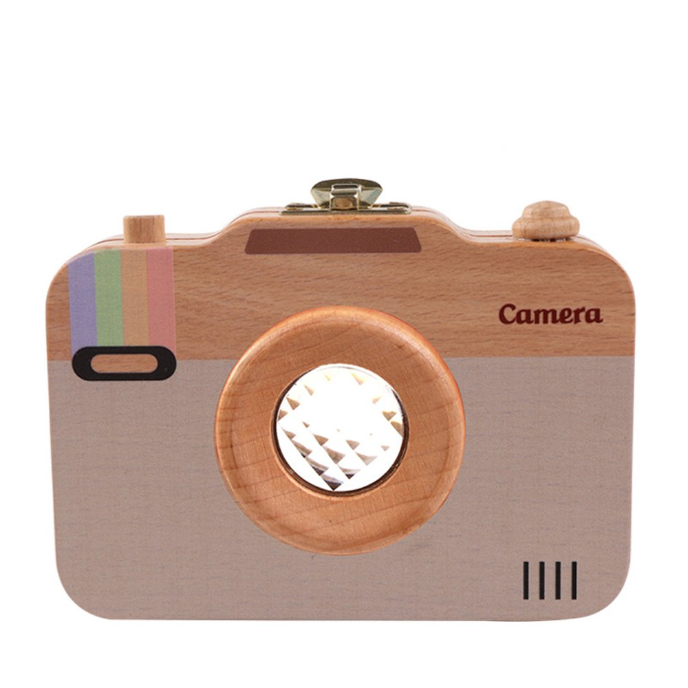 Baby Camera Teeth Box,Cute Wood Tooth Storage Box Souvenir Box for Kids Boy&Girl (color 2)