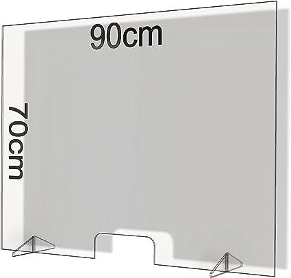 Mamparas de Protección, Escudo de Acrílico Transparente Plexiglass para Mostradores y Ventillas de Transacciones, Protección contra Estornudos y Tos (90x70): Amazon.es: Oficina y papelería