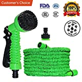 #5: Multifunctional Expandable Garden Hose - Strongest Magic Garden Water Hose - Flexible Expandable Stretch Hosepipe with 7 pattern Spray Nozzle for Car Garden Watering Needs - 75FT GREEN