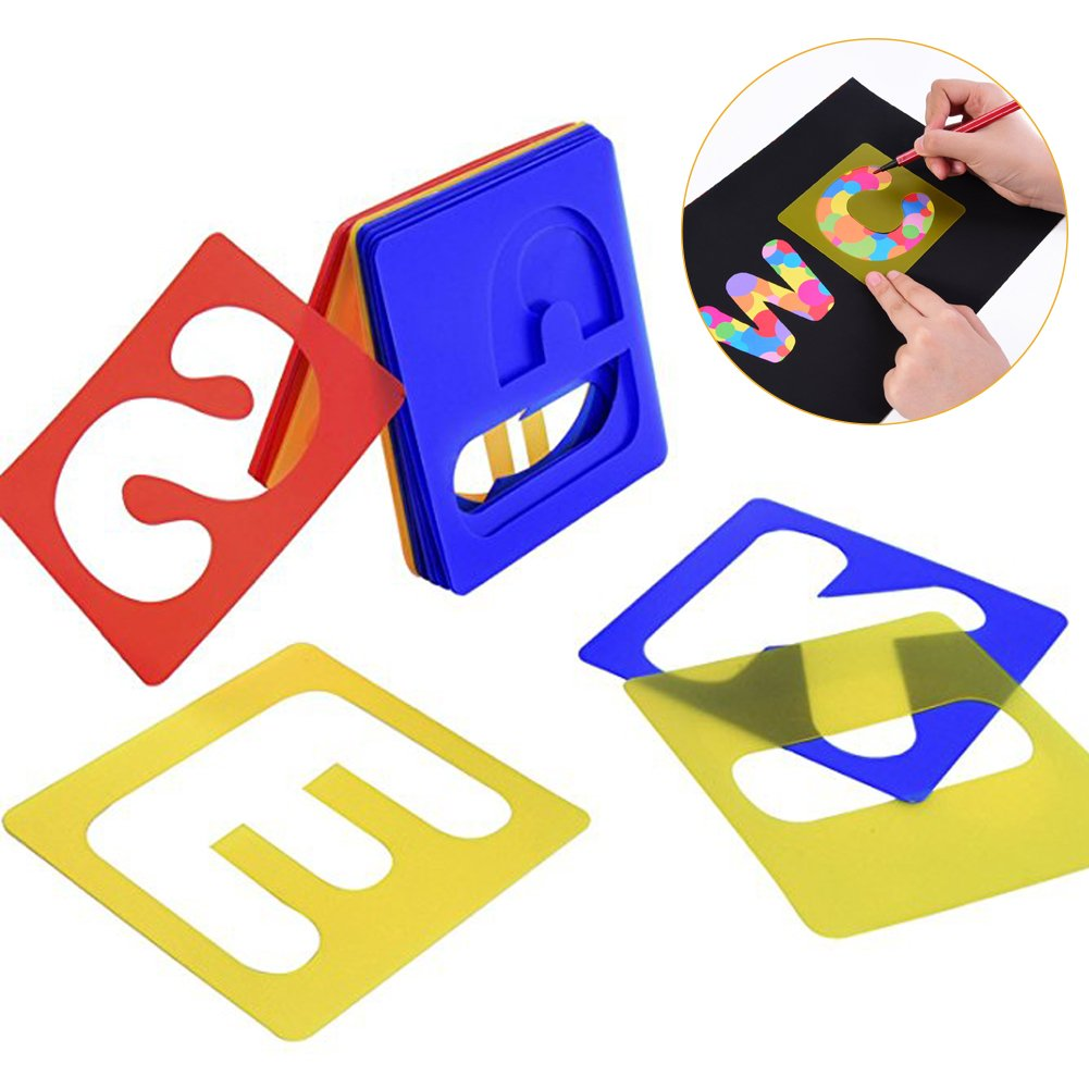 FEOOWV 26 Pieces Alphabet and Number Stencils Set Plastic Letter Stencils Scrapbooking and DIY Crafts