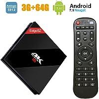 TV Box Android 7.1 avec Amlogic S912 Octa Core 64 Bits, 3G+64G EstgoSZ Set Top Box avec Télécommande Support Réel 4K Ultra HD/3D/H.265/Dual-WiFi 2.4/5 GHz/1000M LAN/Bluetooth 4.1