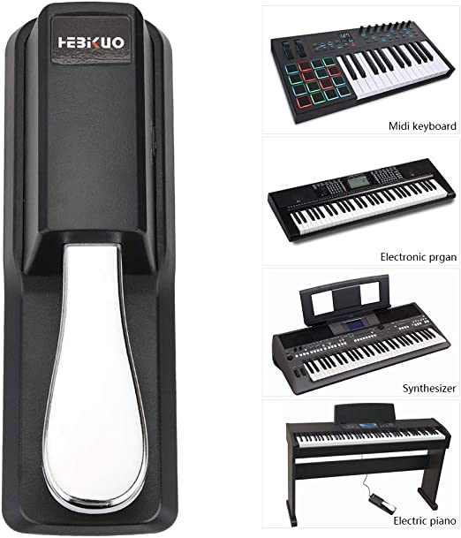 Sustain Pedal de Piano, con Goma Antideslizante, Perfecto para Teclados y Pianos Digitales Yamaha, Casio, Roland, Korg, M-Audio y Fairdeal