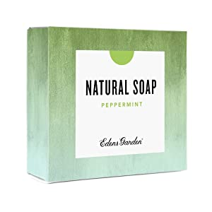 Edens Garden Peppermint Natural Aromatherapy Cold Processed Bar Soap (Made With Essential Oils, Vegan, For Face & Body), 4.4 oz Bar