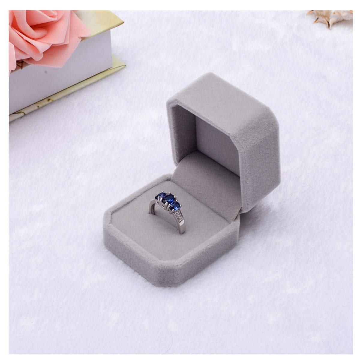 Midress Velvet Ring Box, Square Wedding Ring Box for Engagement Wedding Earring Ring Pendant Jewelry Display Box Gift (Gray)