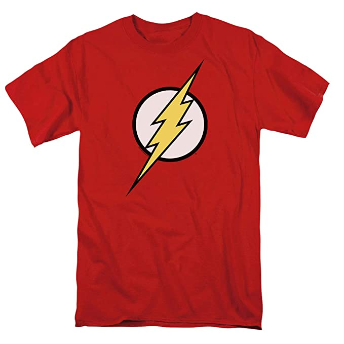 480eab31e59bf2 The Flash Lightning Bolt Logo T Shirt & Exclusive Stickers (Small) Red