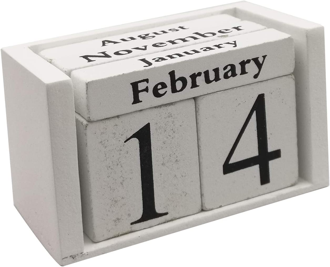 Small Wooden Desk Blocks Calendar - Perpetual Block Month Date Display Home Office Decoration(White), 3.7 x 2.1 x 1.7 inches