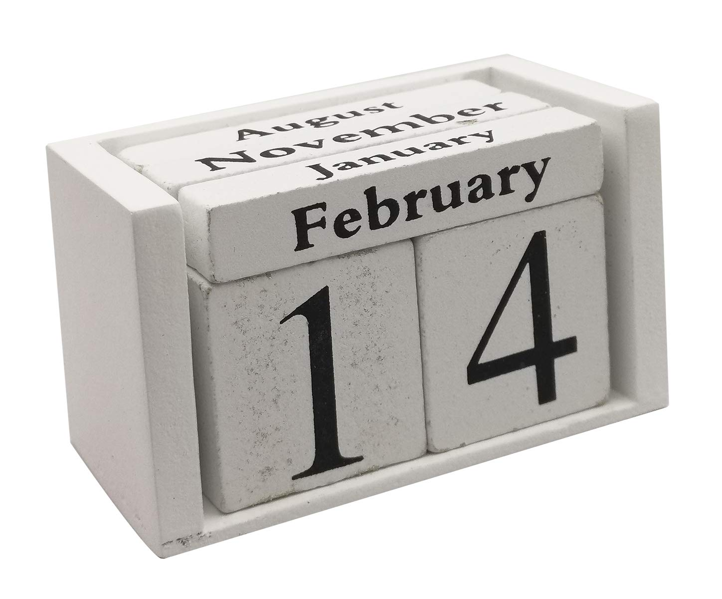 Wooden Desk Blocks Calendar - Perpetual Block Month Date Display Home Office Decoration(White), 3.7 x 2.1 x 1.7 inches
