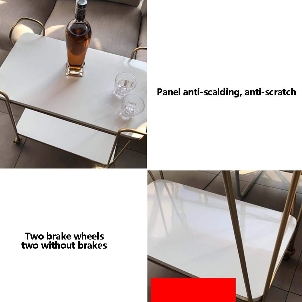 Nordic Wrought Iron Dining Car with Wheels, Kitchen Trolley Rack Sideboard Hotel Home Multi-Function Wine Cart, Anti-Rust and Durable Multi-Purpose by Kitchen Cart (Image #3)