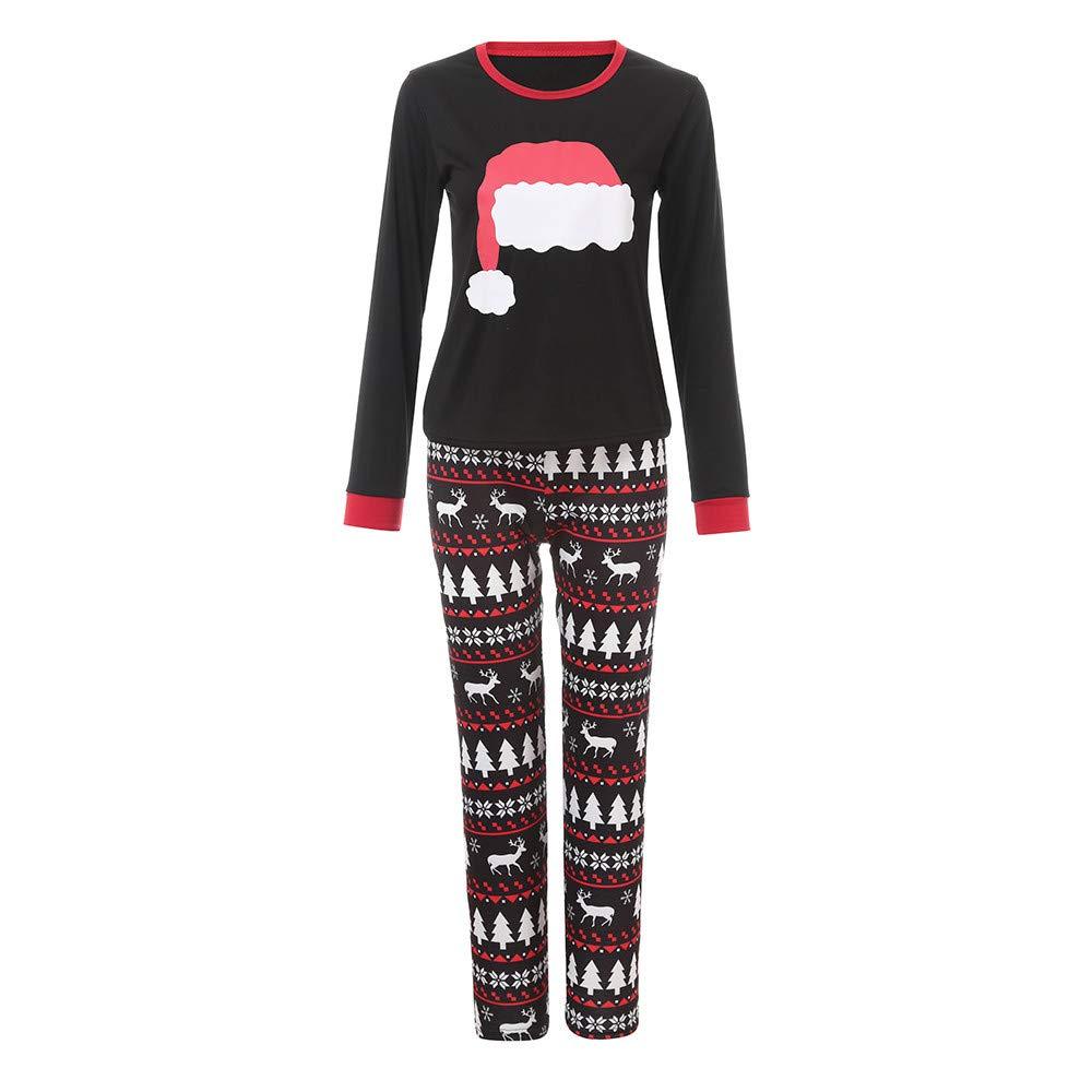 Clearance! Xmas Pjs Family,Sunfei Mom/Dad/Kids 2PCS Christmas Cartoon Hat Print Top+Pants Family Clothes Pajamas ®Sunfei_Christmas