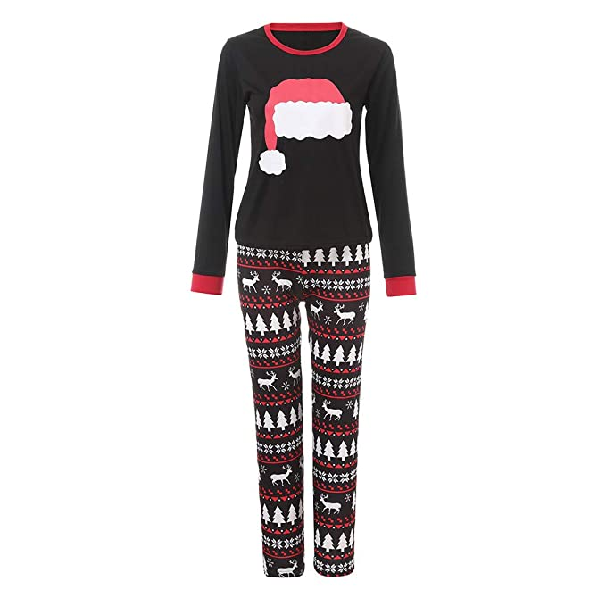 Clearance! Xmas Pjs Family,Sunfei Mom/Dad/Kids 2PCS Christmas Cartoon Hat Print Top+Pants Family Clothes Pajamas (Lady Mom, Small)