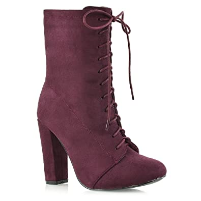 a98e8a044abf1 Womens High Heel Ankle Boots Ladies Lace Up Round Toe Calf Booties Shoes  Size