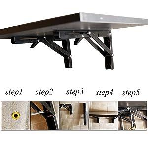 16 INCH Folding Shelf Brackets - Heavy Duty Metal Collapsible Shelf Bracket for Bench Table, Shelf Hinge Wall Mounted Space Saving DIY Bracket, Max Load: 280 lb - Black (2 PCS)