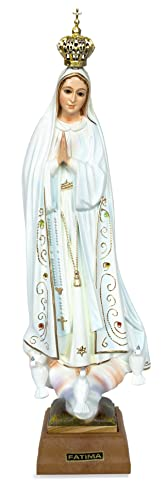 Toccare Hand Painted Our Lady of Fatima Statue – Made in Fatima 11 , Glass Eyes