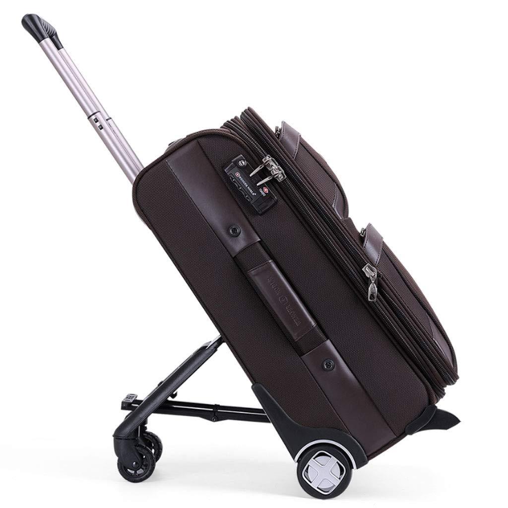 ZXXZ トロリーケース- 女性の外出一方通行車輪のトロリー箱、メンズ旅行オックスフォードの布のスーツケースの荷物 (Color : Brown, Size : 24in) B07V11CTPY Brown 24in