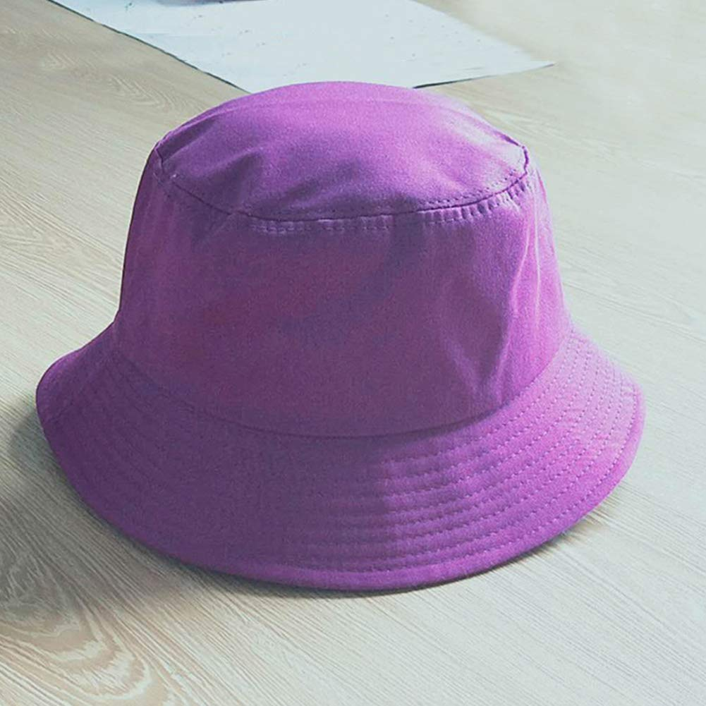 Purple Fashion Bucket Hat Women Men Unisex Solid Color Cotton Fisherman Summer Travel Cap