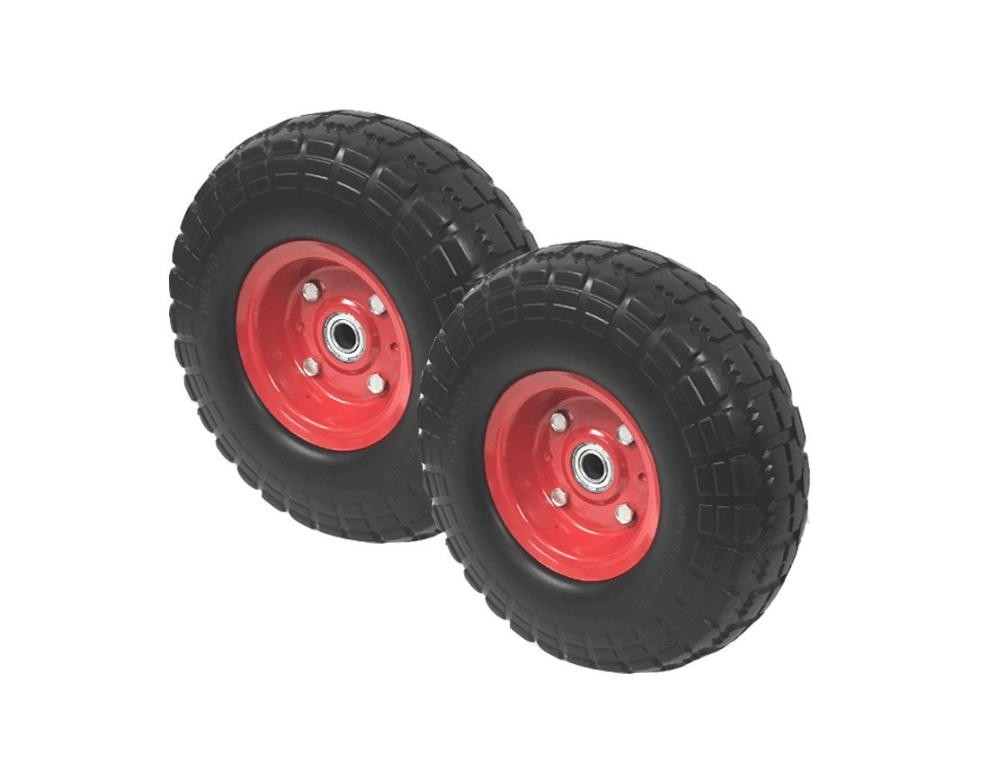 2 New10'' Flat Free Tires Wheels with 5/8'' Center - Hand Truck / All Purpose Utility Tire on Wheel