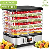 Food Dehydrator Machine with Timer, 8-Tray Electric Food Dryer Timer & Temperature Settings