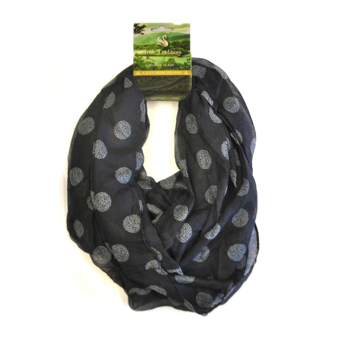 Carrolls Irish Gifts Exclusive Black Celtic Snood Scarf With White Celtic Knots Design