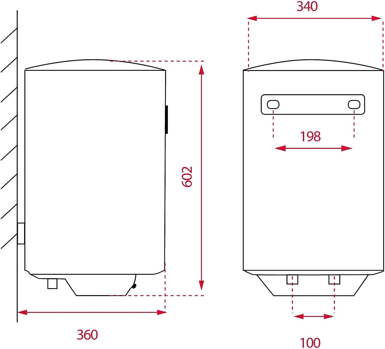 Blanco Teka 594 X 360 X 340 mm Termostato De Temperatura 30-75/º 1500W 30L Tanque Esmaltado Resistencia Ceramica Termo Electrico Ewh30