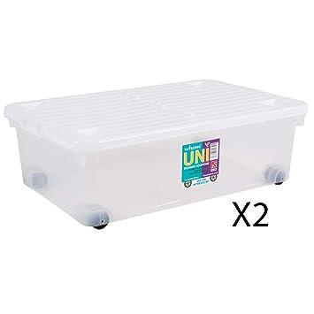 Tidy Box Pack de 2 Cajas de 32 litros para Debajo de la Cama con Ruedas