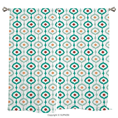 Rod Pocket Curtain Panel Thermal Insulated Blackout Curtains for Bedroom Living Room Dorm Kitchen Cafe/2 Curtain Panels/108 x 84 Inch/Ikat Decor,Colorful Mesh Chain Style Ikat Patterns Retro Decorativ