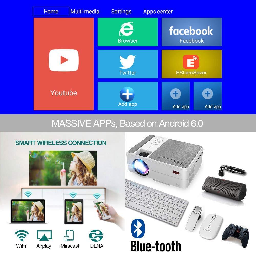 WiFi Proyectores port/átiles de Cine en casa para pel/ículas Juegos Ilustraciones Mini proyector Inteligente EUG 2019 Bluetooth inal/ámbrico 3200 l/úmenes Android6.0 LED 50,000 Horas USB Audio HDMI